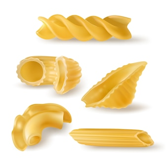 Pasta types and forms realistic