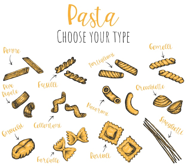 Pasta types hand drawn set, isolated sketched ink illustrations.