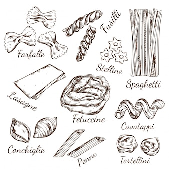 Pasta types sketch set