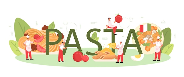 Pasta typographic word. italian food on the plate. delicious dinner, meat dish. mushroom, meatball, tomatoes ingredients. isolated