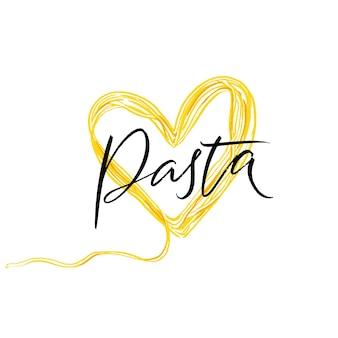Pasta word, calligraphy inscription. spaghetti heart illustration, design element for menu, poster for lunch in italian restaurant, cafe, pasta bar.