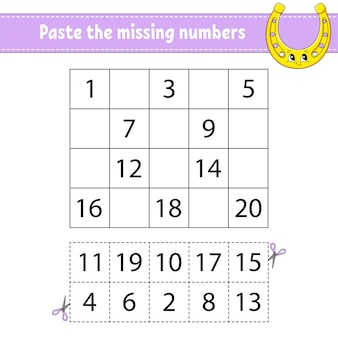 Paste the missing numbers 1-20. game for children. handwriting practice.