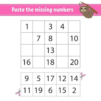 Paste the missing numbers 1-20.