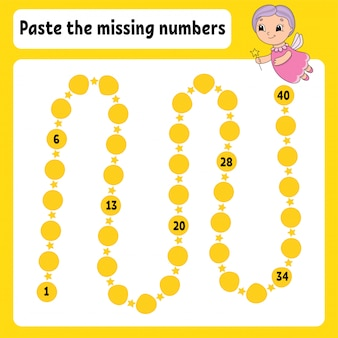 Paste the missing numbers. handwriting practice. learning numbers for kids.