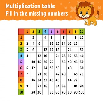 Paste the missing numbers. learning multiplication table.