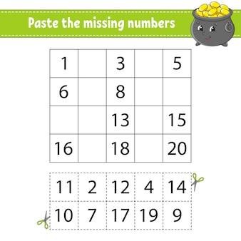 不足している番号1〜20を貼り付けます。子供のためのゲーム。手書きの練習。