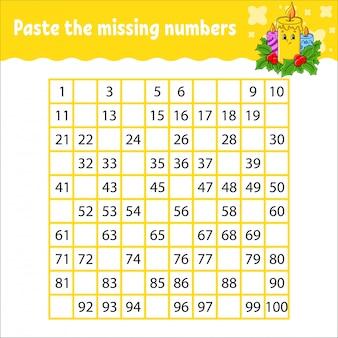 欠落している数字を1から100まで貼り付けます。手書き練習。子供のための学習番号。