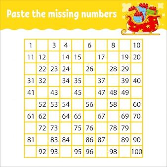 Вставьте пропущенные цифры от 1 до 100. почерк. учим цифры для детей.