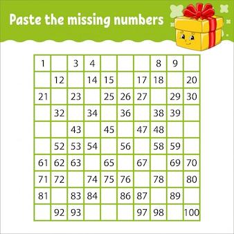 누락 된 숫자를 붙여 넣습니다. 필기 연습. 아이들을위한 학습 번호. 교육 개발 워크 시트.