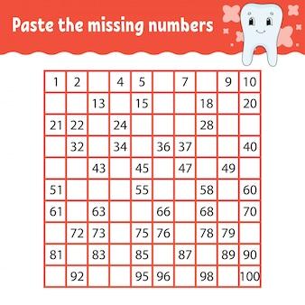 不足している番号を貼り付けます。手書きの練習。子供のための学習番号。