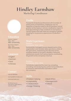 Pastel aesthetic resume template in orange