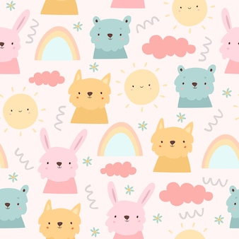 Pastel animals and rainbows seamless pattern