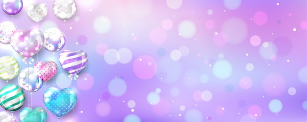 Pastel balloons on bokeh background with copy space