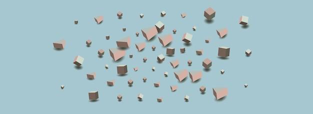 Пастельный блок вектор синий фон. шаблон перспективного многоугольника. графическое изображение розового и серого куба. брошюра с геометрическим ромбом.