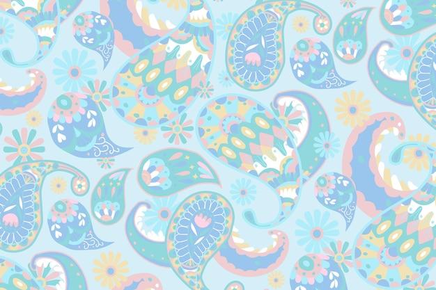 パステルブルーペイズリー柄の装飾的な背景