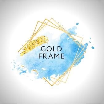 Пастельные синие акварельные пятна и золотые линии. золотая рамка.