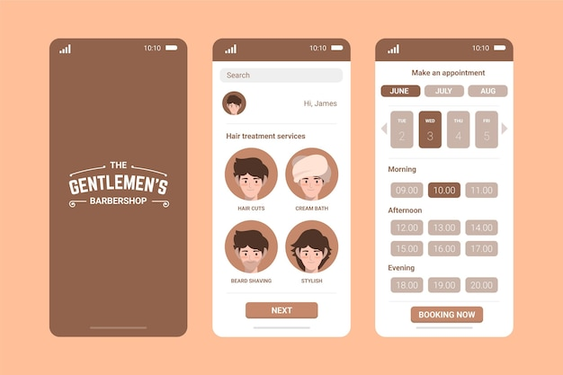 Pastel brown barber shop booking app