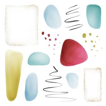 파스텔 브러시 밝아진 추상 수채화 blob 세트