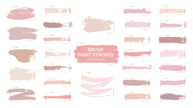 Pastel brush strokes. creative spots, gold frames and pink palette samples. fashion makeup blush swatches. beautiful rose grunge paint  collection. illustration pastel texture, watercolor brush