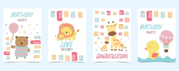 Pastel card with bear