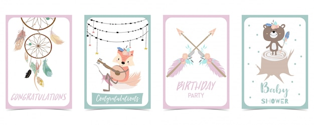 Pastel card with feather