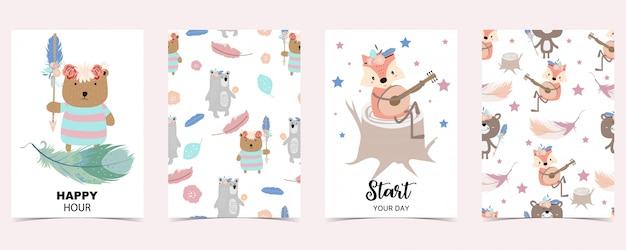 Pastel card with fox, bear
