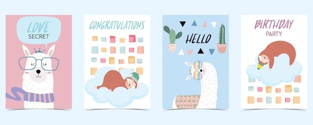 Pastel card with llama