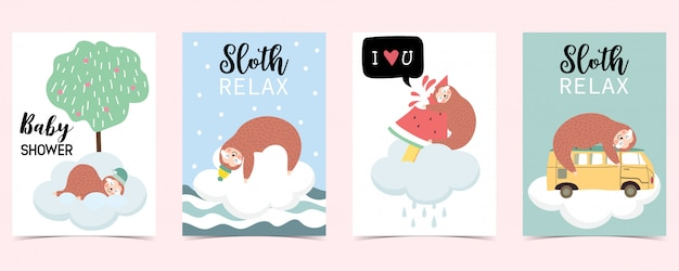Pastel card with sloth