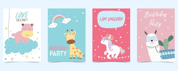 Pastel card with unicorn