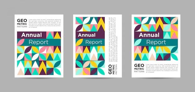 パステルカラーの抽象的な年次報告書の表紙