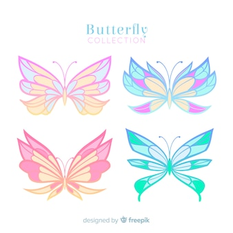 Pastel color butterfly collection