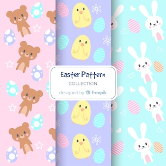 Pastel color easter animals patterns