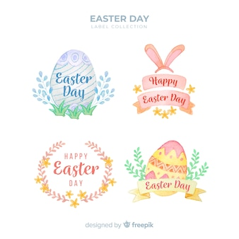 Pastel color easter badge collection