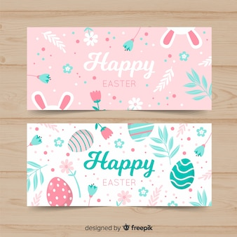 Pastel color easter banner