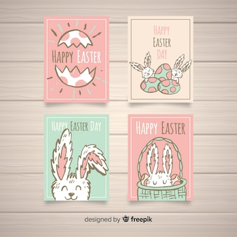 Pastel color easter card collection