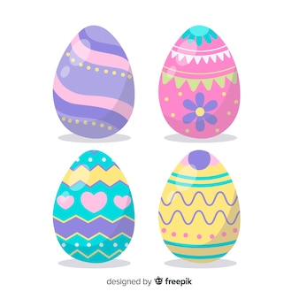 Pastel color easter egg collection