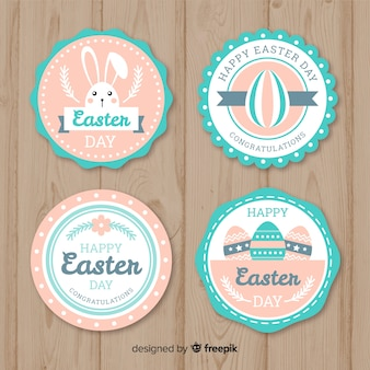 Pastel color flat easter badge collection