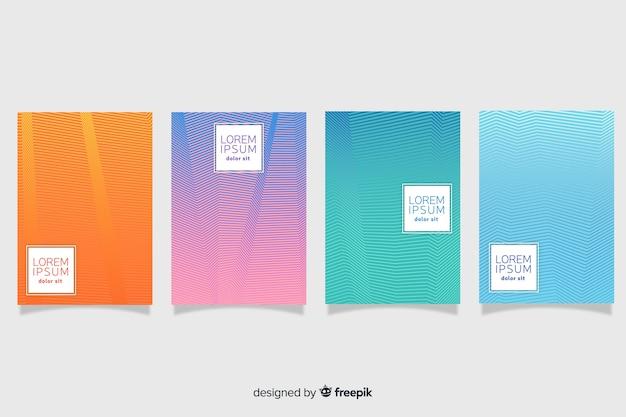 Pastel color geometric lines poster set