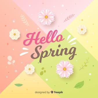 Pastel color hello spring background