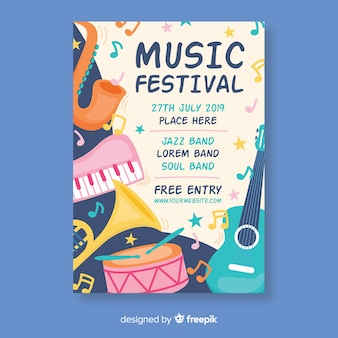 Pastel color instruments music festival poster