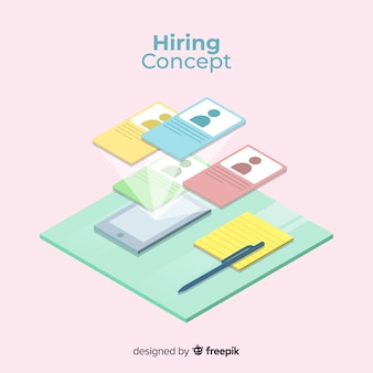 Pastel color isometric hiring illustration