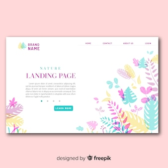 Pastel color leaves landing page