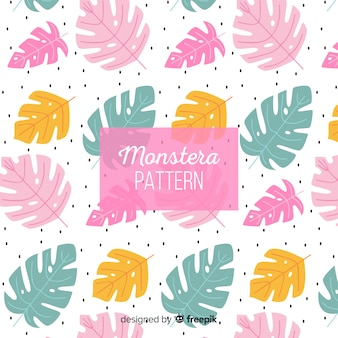 Pastel color monstera leaves background