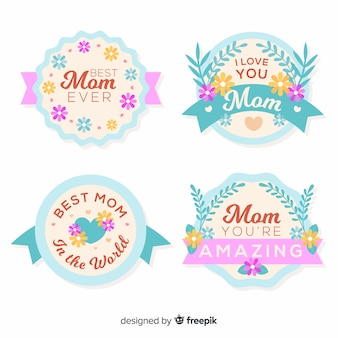 Pastel color mother's day badge collection