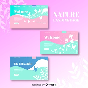 Pastel color nature landing page set