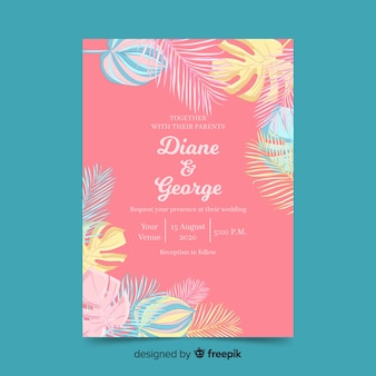 Pastel color palm leaves wedding invitation template