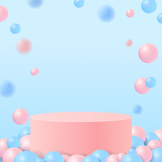 Pastel color shapes on natural. minimal scene with geometrical forms. pink cylinder podiums in blue background with balls. scene to show cosmetic product, showcase, shopfront, display case.