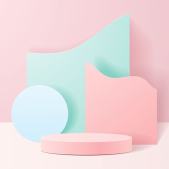 자연에 파스텔 색상 모양. 기하학적 형태의 최소 장면. 분홍색 배경에서 실린더 연단입니다. 화장품, 프리젠 테이션, 쇼케이스, 상점, 진열장을 보여주는 장면.