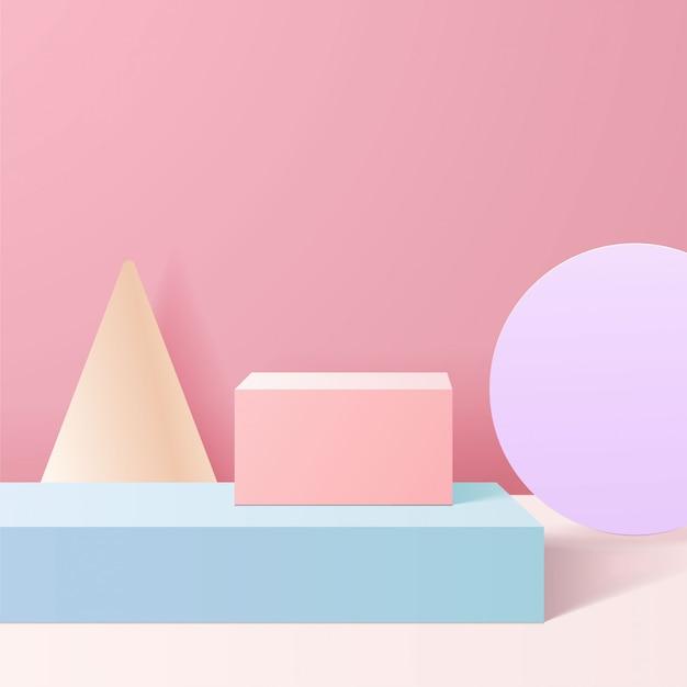 Пастельные цвета на натуральных формах. минимальная сцена с геометрическими формами. цилиндрические подиумы в розовом фоне. сцена для демонстрации косметического продукта, презентации, витрины, витрины, витрины.