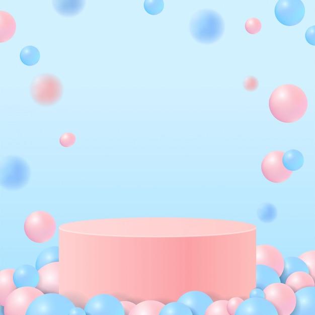 자연에 파스텔 색상 모양. 기하학적 형태의 최소 장면. 공 파란색 배경에 핑크 실린더 연단입니다. 화장품, 쇼케이스, 상점, 진열장을 보여주는 장면.